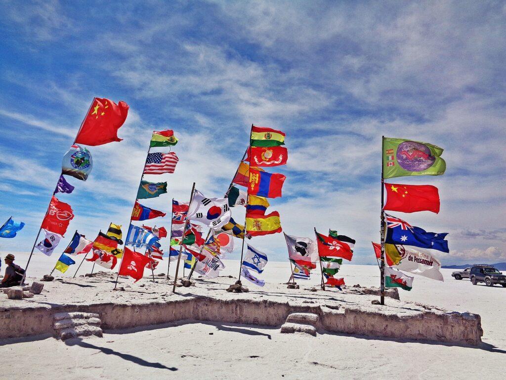 the salar de uyuni, uyuni, flags